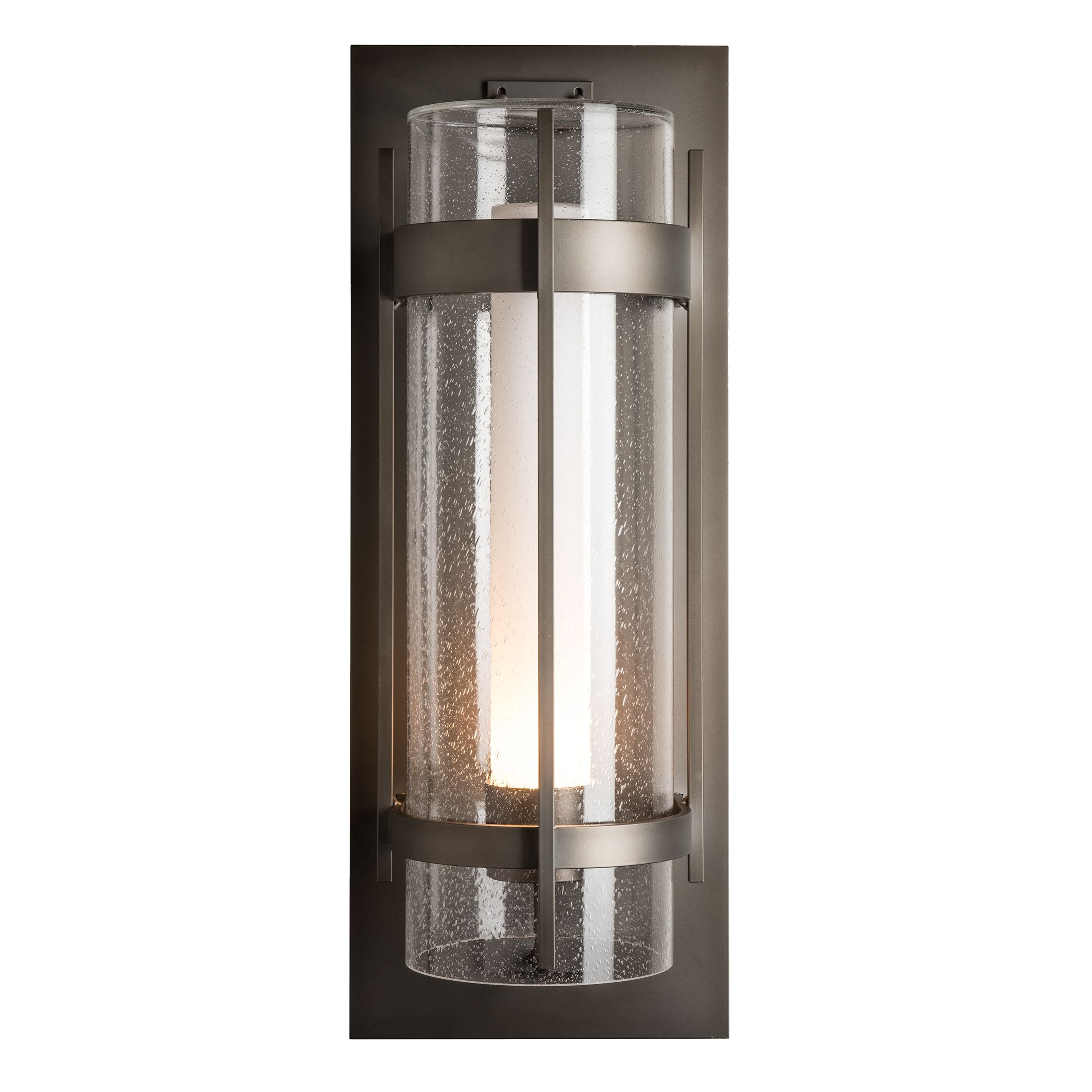 Product Detail: Banded Seeded Glass XL Outdoor Sconce