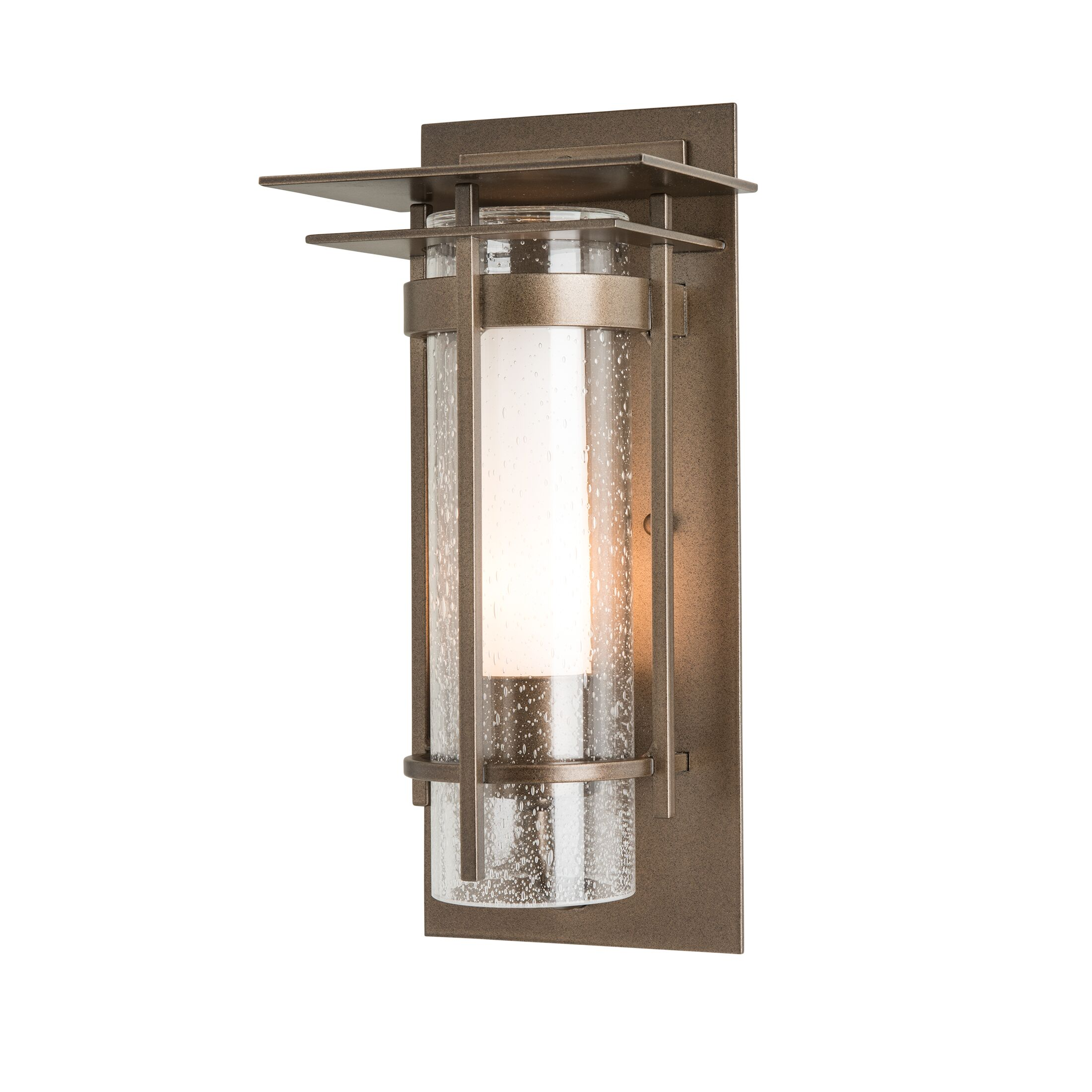 Product Detail: Banded Seeded Glass Small Outdoor Sconce with Top Plate