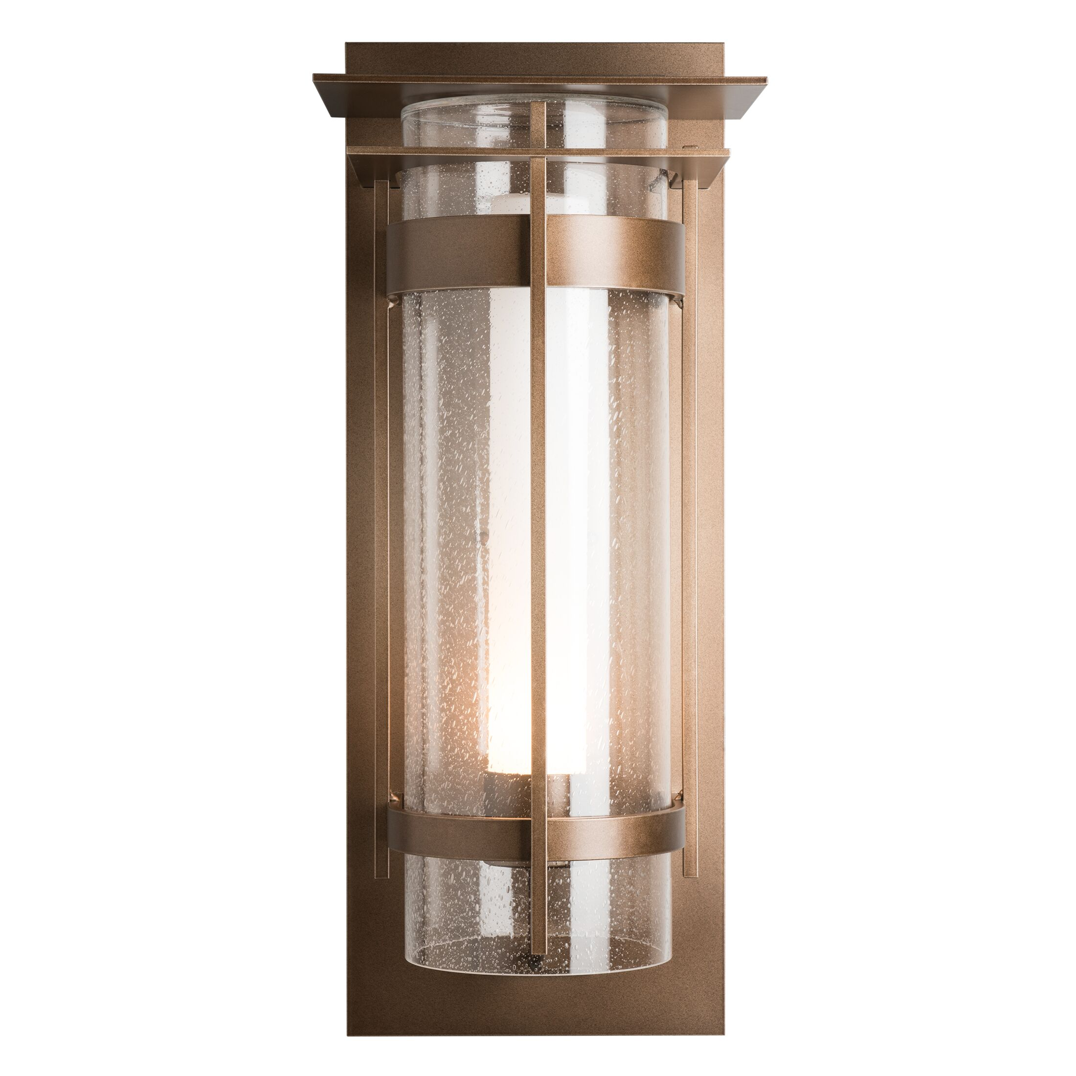 Product Detail: Banded Seeded Glass XL Outdoor Sconce with Top Plate