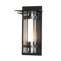 OUT-305997 Banded Seeded Glass with Top Plate Outdoor Sconce