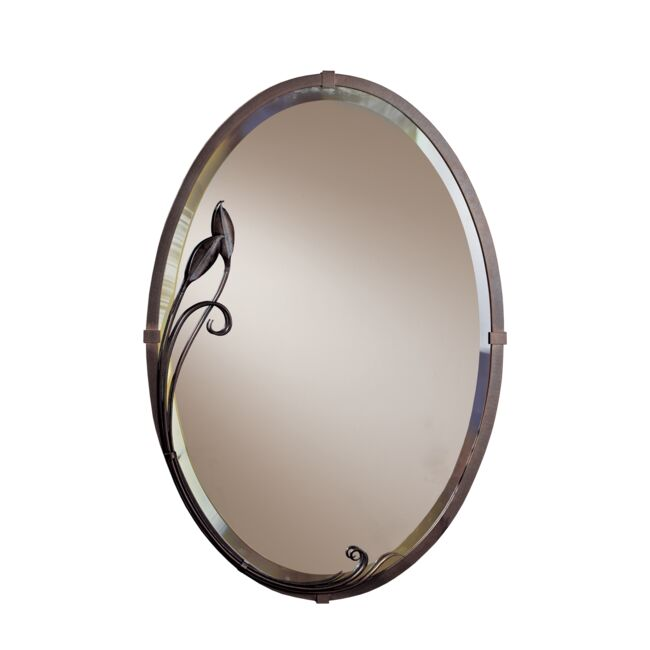 Product Detail: Beveled Oval Mirror with Leaf